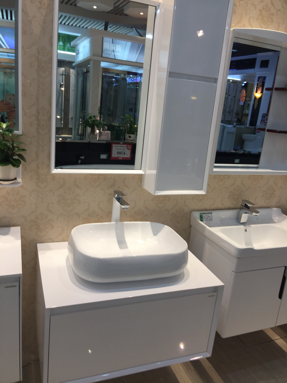 800mm counter top ceramic single basin with solid wooden bathroom vanity cloakroom cabinet with mirror