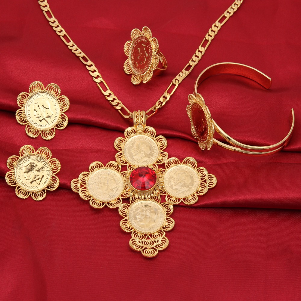 Bangrui New Traditional Ethiopian Wedding Jewelry Sets Gold Color Jewelry Bridal Romantic Jewelry for Women