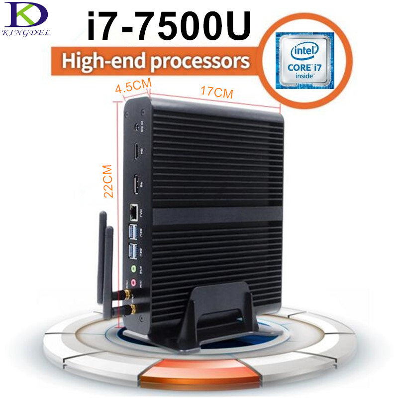 Core i7 7500U 7th Gen. Kaby Lake CPU,Fanless Mini PC,HTPC,Micro Desktop Computer,HD Graphics 620,DP,HDMI,Windows10,Metal Case