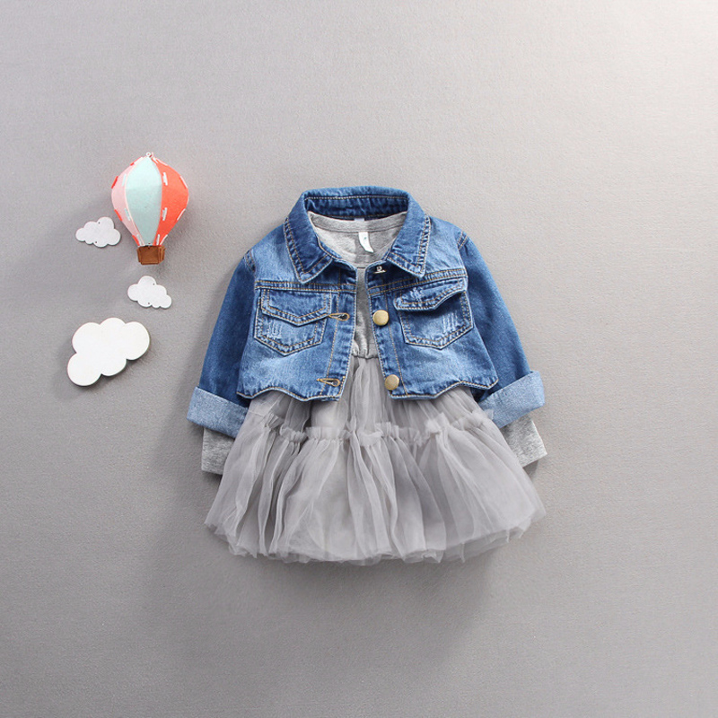 Image 5 - Fall infant Baby Girls clothes outfits casual sets denim jacket + tutu dress suit for newborn baby girls clothing birthday sets-in Clothing Sets from Mother & Kids