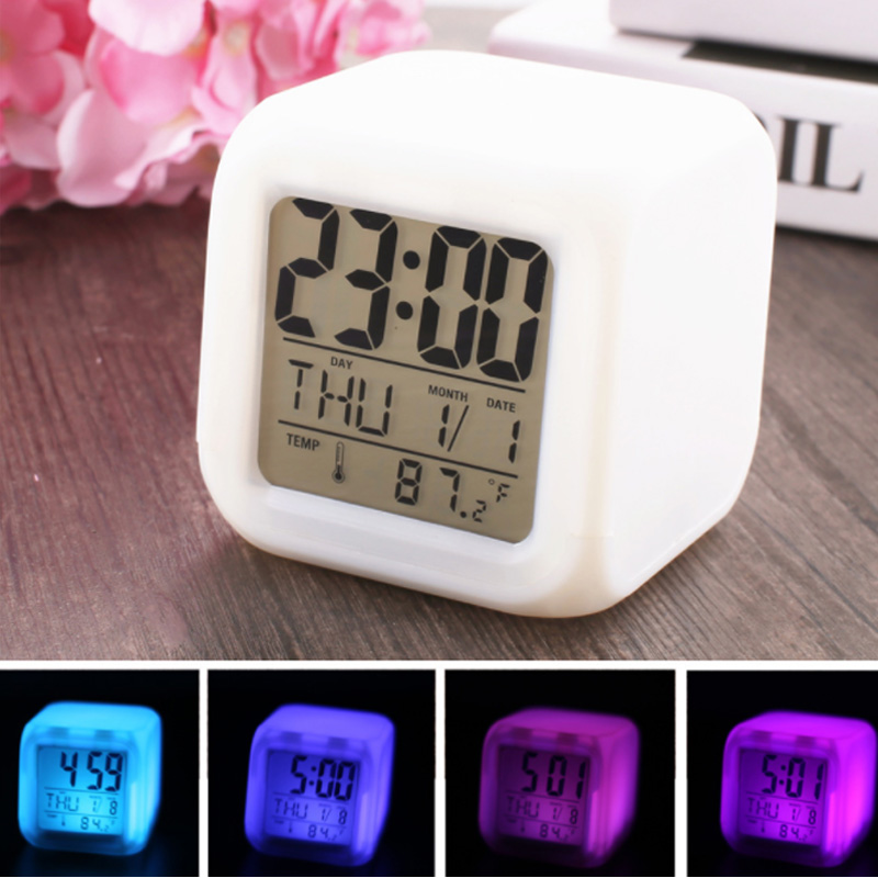 Multi-function Cartoon Child colour Glowing Change Digital Alarm Clock LED Watch Glowing Alarm Thermometer Clock Cube