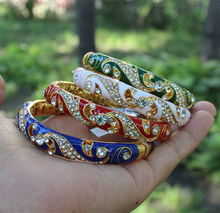 Elegant Double Chinese filigree rhinestone Bangle Cloisonne Enamel Bangles For Women Fashion Ethnic Jewelry birthday Gift