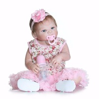 NPK collection bebe realista doll reborn full silicone body with pink dress blue eyes fashion girl dolls toys bonecas