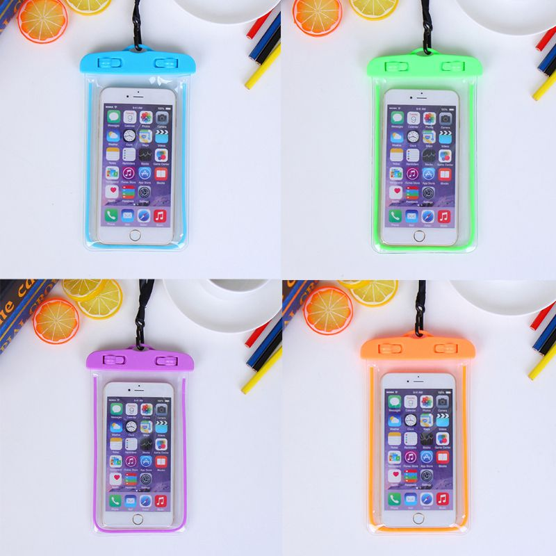 19x10.5cm Universal Luminous Waterproof Pouch Underwater Transparent Cellphone Dry Bag Portable Phone Case With Neck Strap