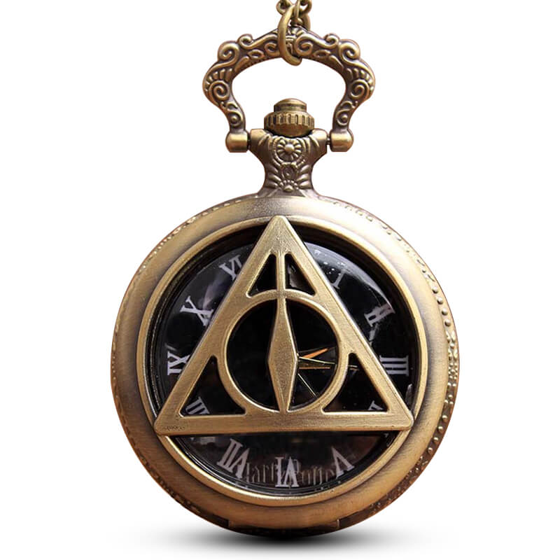 Sci-fi  Deathly Pocket Watch Chains Necklace Vintage Hollow Quartz Pocket Watches Steampunk For Men Fans Gifts