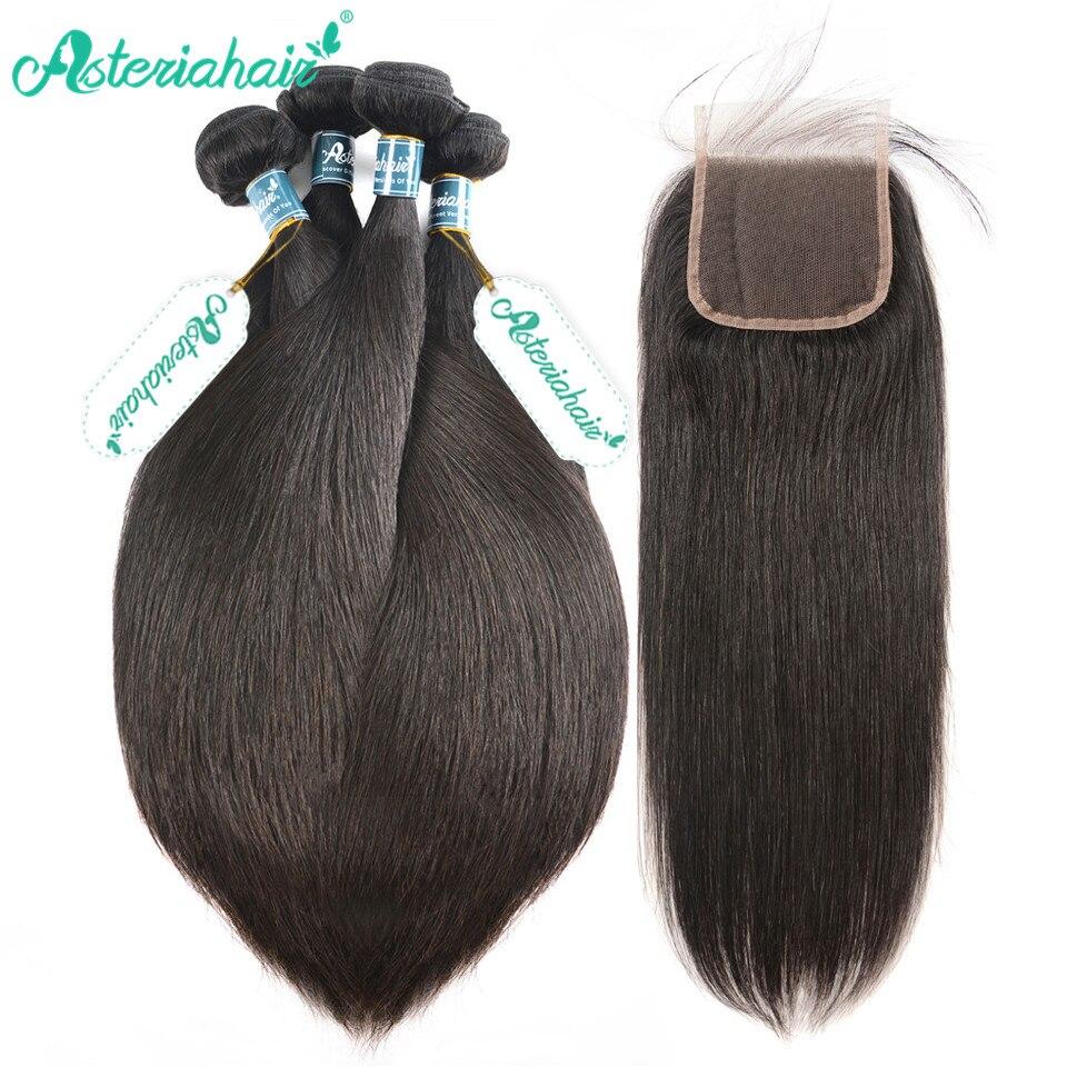 Paquetes de pelo lacio peruano de Asteria con cierre de encaje suizo paquetes de pelo peruano 4 paquetes con cierre de encaje cabello Remy