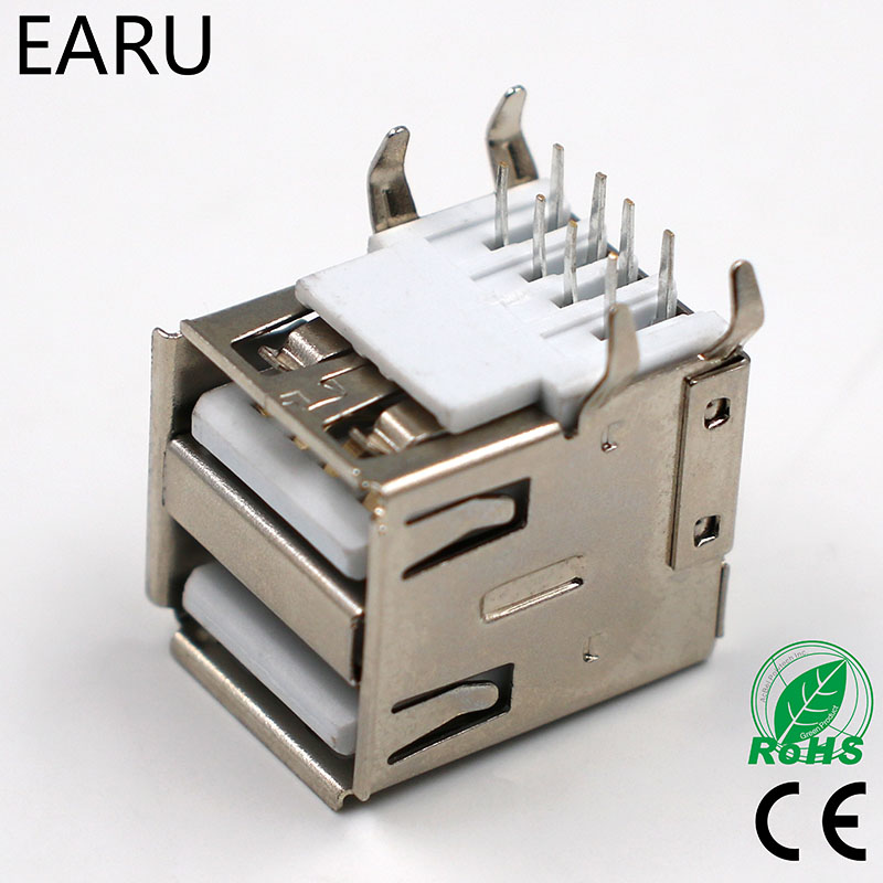 USB A Type Female Socket Connector White 2 to 1 G44 for Data Connection Interface Charging Adapter SDA Cable Double