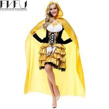 Nuevo estilo 2017 de cosplay de halloween para las mujeres trajes de cuentos de hadas chica rubia de oro cosplay dress del partido de cosplay