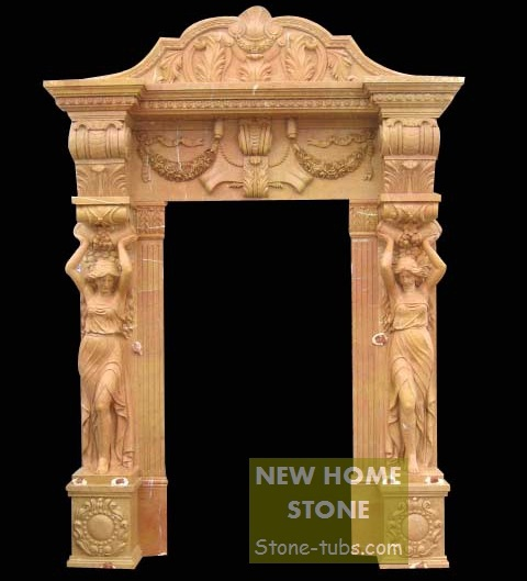 Stone Door Surround Statue Columns Yellow Marble Hand Carved Door Frame with women figures sculptures column & Stone Door Surround Statue Columns Yellow Marble Hand Carved Door ...