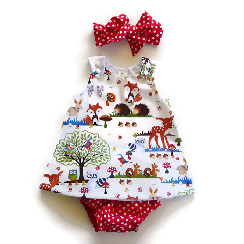 New Hot Sale Infant Toddler Kids Baby Girl Character Summer Clothes Top Dress Short Pants And Headband Clothes Outfits Set