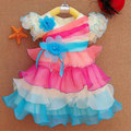 2015 новорожденный ребенок платье малышей девушки одеваются лето малышей платье принцессы ну вечеринку платья для маленьких девочек-младенцев