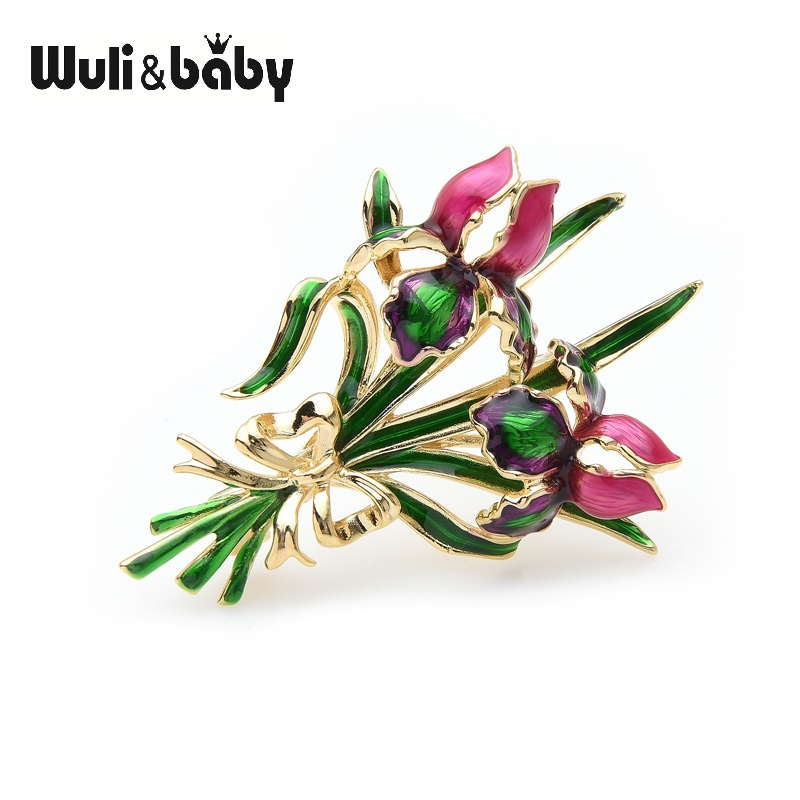 Wuli&baby Enamel Double Rose Brooch Pins For Women Valentine's Day Gift 2019