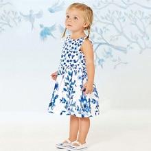 2018 летние детские Обувь для девочек платье трапециевидной формы Костюмы Обувь для девочек симпатичное платье принцессы для вечерние Детские Цветочный принт Платья для женщин для малышей Обувь для девочек