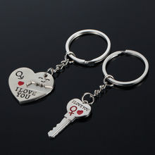 2pcs/1pair romantic Couple Key Heart I Love You Pendant Key Chain Ring Keychain Key Fob Romantic Lovers Friend Gift(China)
