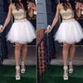 2016 Summer Party Dresses Crystal Beading Rhinestone Crystal Two Pieces Tulle Short/Mini Cocktail Dresses