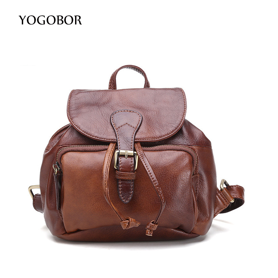 где купить  Women Backpack Vintage Backpacks for Teenage Girls Fashion Drawstring School Bags High Quality Genuine Leather Brown Bag mochila  дешево