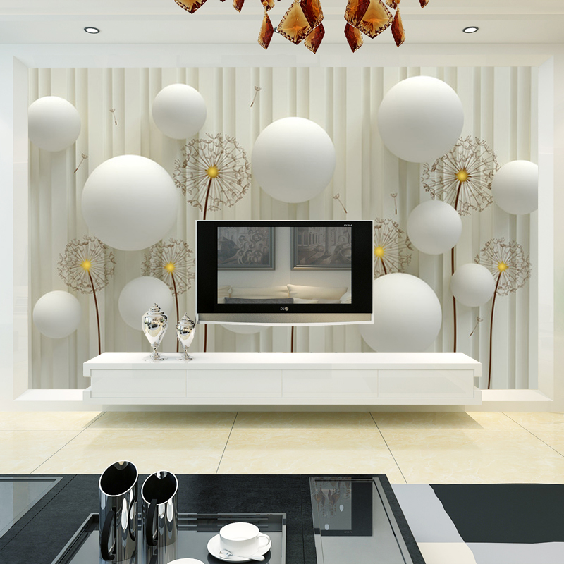 Dandelion with romantic 3D ball photo wallpaper living room TV wall ...