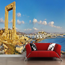 large 3D customized mural European Nostalgia seaview painting with old building  behind TV sofa as background in living room