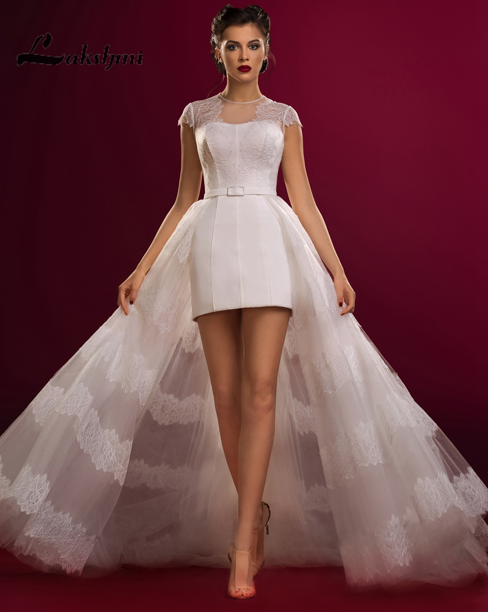 strapless pleated taffeta mini wedding dress with bow detail hs mini wedding dress
