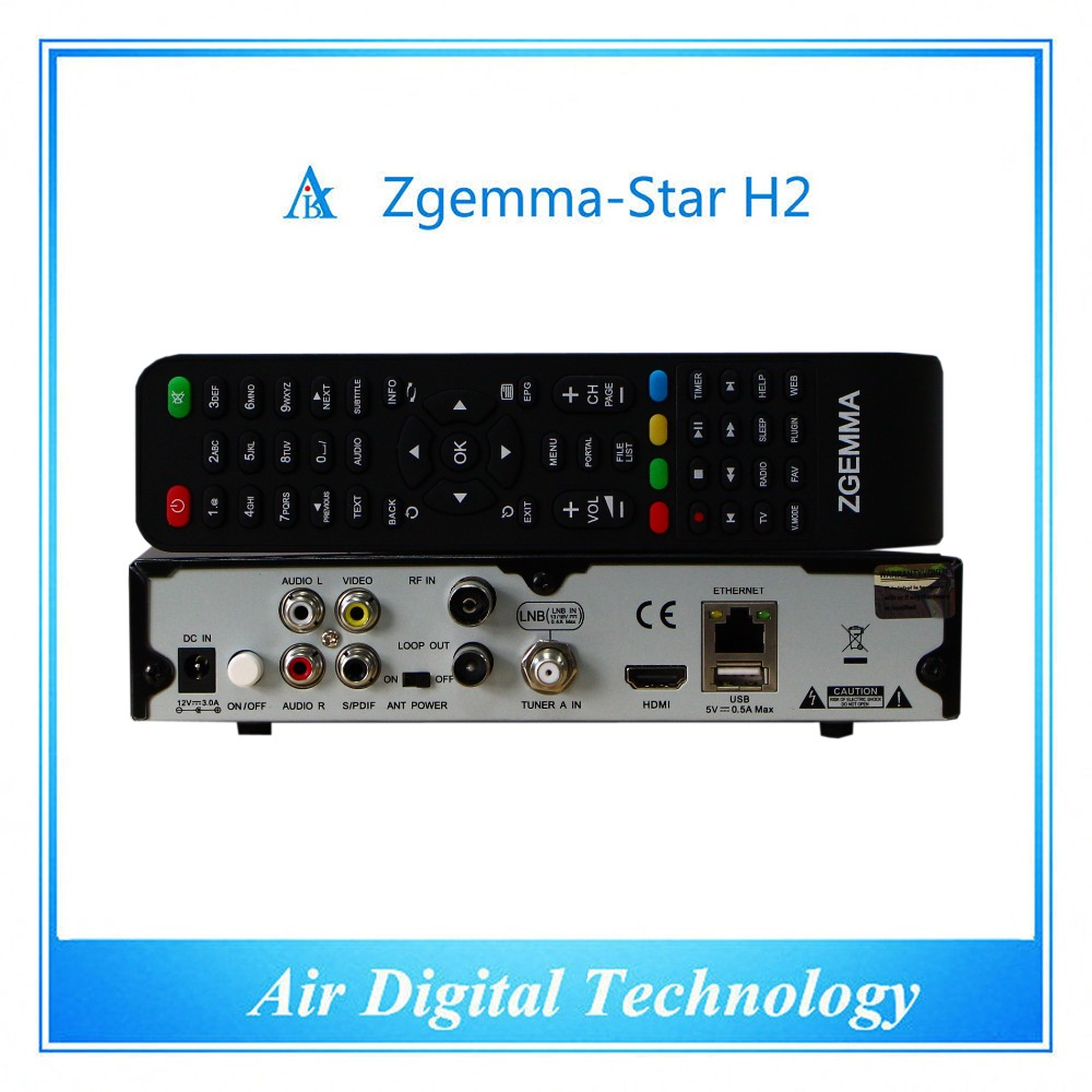 20pc/lot  Best Wholesale Full Channels Software Zgemma-Star H2 Satellite Receiver With Linux OS Enigma2 DVB-S2+T2/C Combo Tuners usb 20 software radio dvb t
