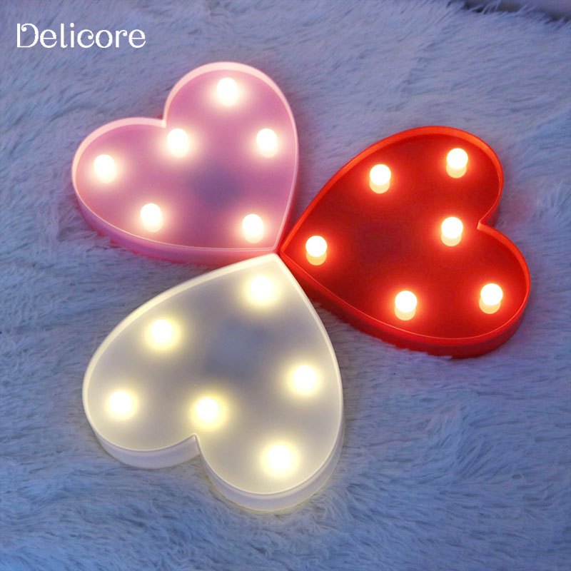 DELICORE Romantic Heart Night Lights 3D Marquee Letter LED Night Lamp Wedding Party Bedroom Decoration Kids Gifts S011-1 romantic heart star cloud lamps 3d led table night light battery operated home indoor bedroom party decoration kids gifts