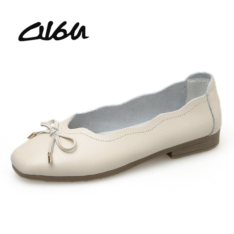 O16U New Arrival Shoes Woman Genuine Leather Women Flats Slip On Ballerina flat shoes Knot Women