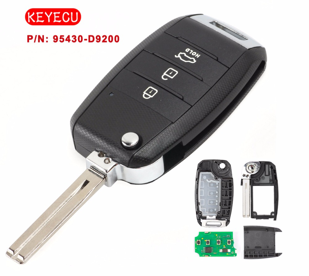 Keyecu Upgraded Remote Control Fob 3 Button 433MHz ID60 6F Chip for KIA Sportage 2016-2017 Car Key
