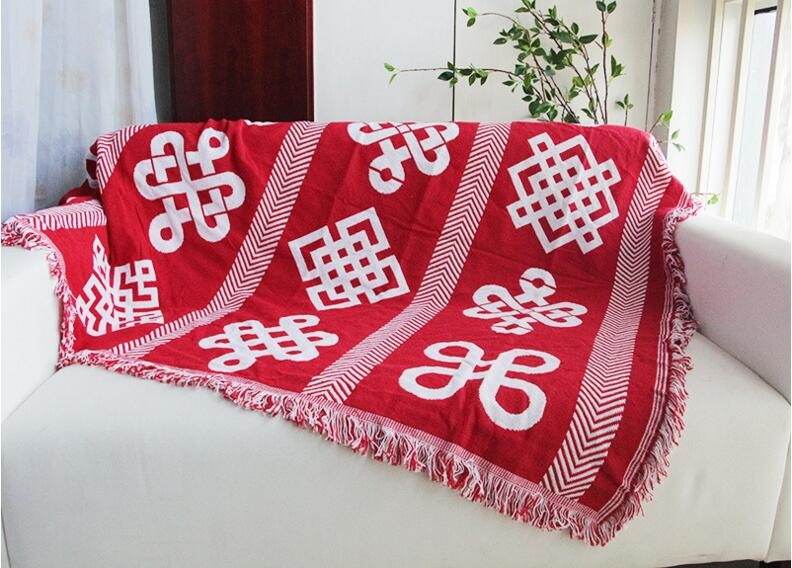 Red Knitted Sofa Blanket Chinese Knot Pattern Thread Blanket Living ...