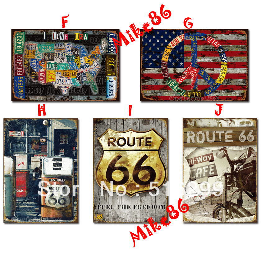 Mike86 Route 66 USA Map Metal