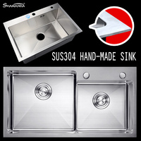 Free Shipping SUS304 Stainless Steel Nickel Hand Made 3MM Extra Thick Kitchen Sink With Strainer Basket