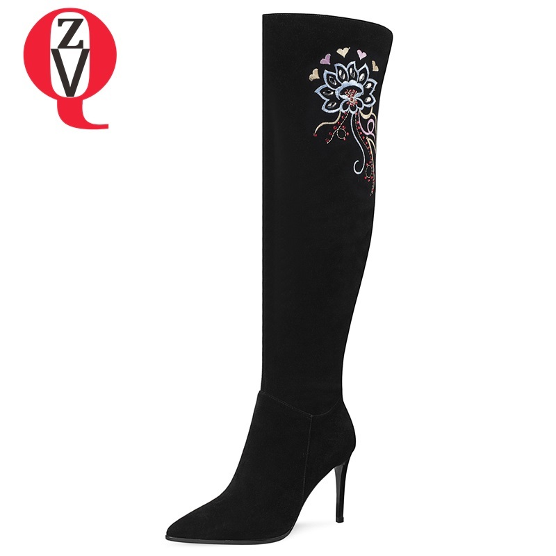 ZVQ 2018 winter newest fashion sxey party embroider over knee boots super high thin heels pointed toe zipper black women shoes zvq 2018 new popular kid suede embroider women shoes super high square heel pointed toe zip black winter warm over knee boots