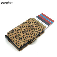 CaseKey Men Credit Card Holder Fashion PU Leather Metal Card Holder With RFID Card Case Automatic Money Cash Clip Mini Wallet