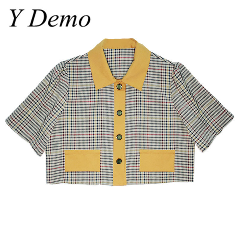 Y Demo Vintage Plaid Turn Down Collar Puff Sleeve Short Shirt Woman Summer Fashion Single Breasted Shirts
