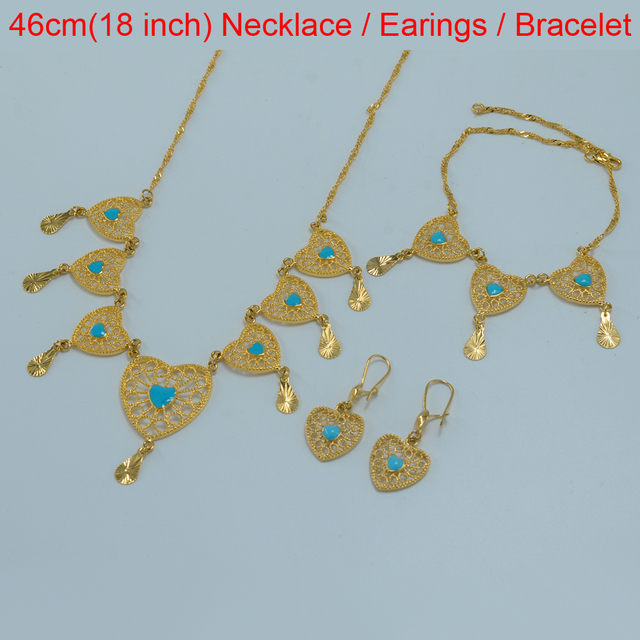 Heart Set Jewelry Wedding Bridal Necklace Bracelet Earrings Arabic Middle East – Gold Plated Africa Fashion Set 2016 NEW set