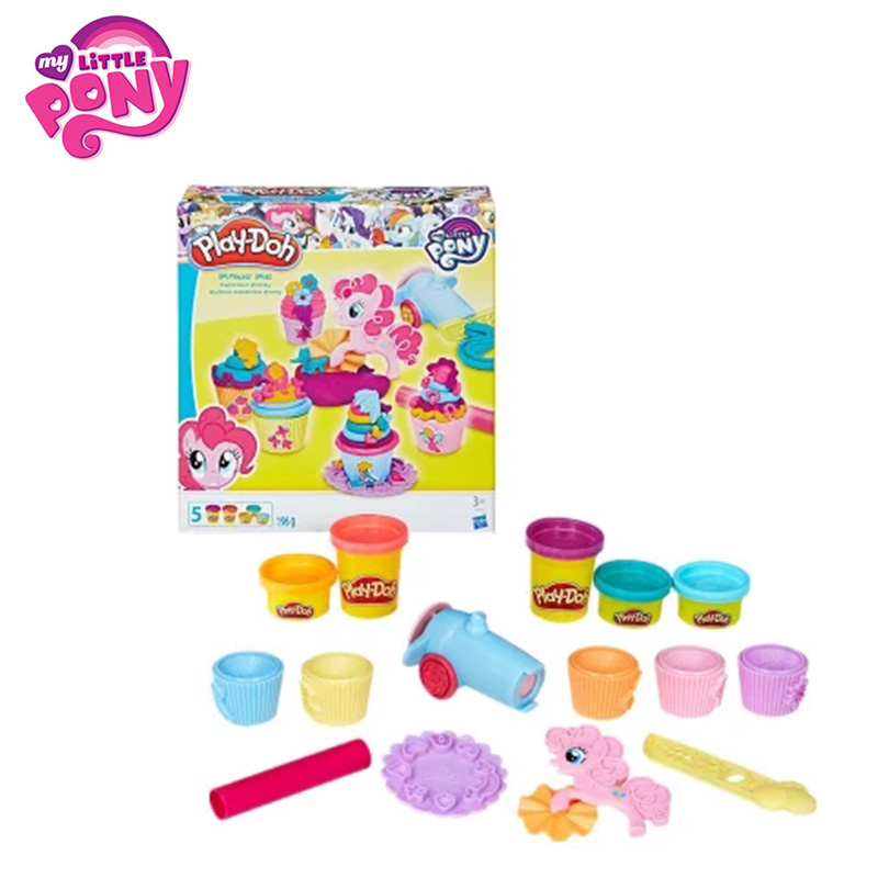 Play Doh Hasbro My Little Pony Slime Cupcake Party Movie&TV PVC Action Figure Collectible Model Pony Doll For Children Present 2018 my little pony toys the movie dj pon 3 big mcintosh rainbow dash pinkie pie rarity pvc action figure collectible model doll