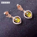 ZHHIRY Natural Prehnite Earring Gemstone Genuine Solid 925 Sterling Silver Earrings Women Fine Jewelry
