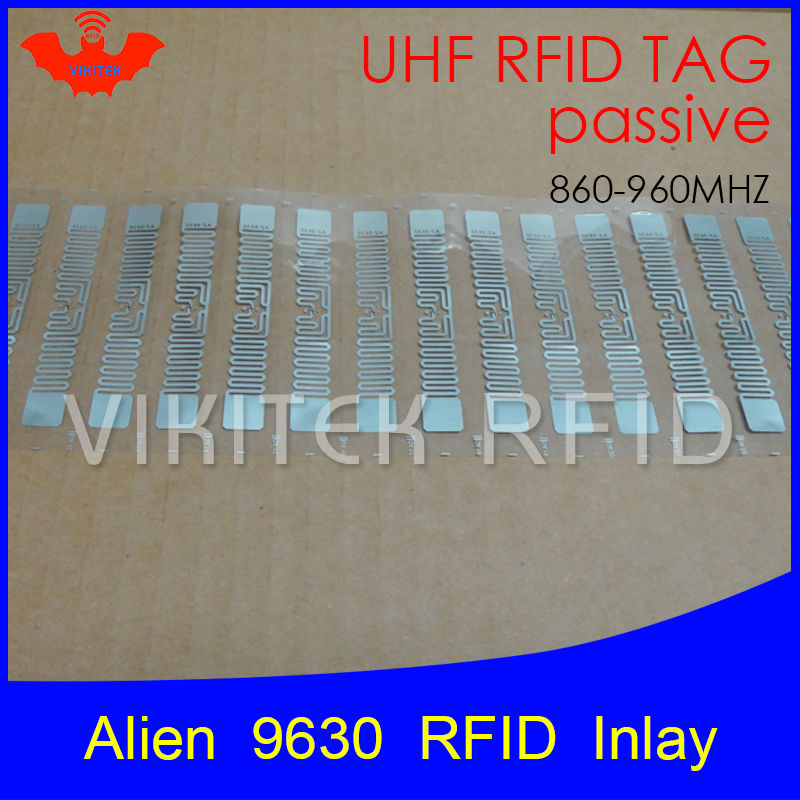 UHF RFID tag Alien 9630 inlay 915mhz 900mhz 868mhz 860-960MHZ Higgs3 EPC Gen2 ISO18000-6c smart card passive RFID tags label 500pcs rfid one off coated paper wristbands tag epc gen2 support alien h3 chip used for personnal management
