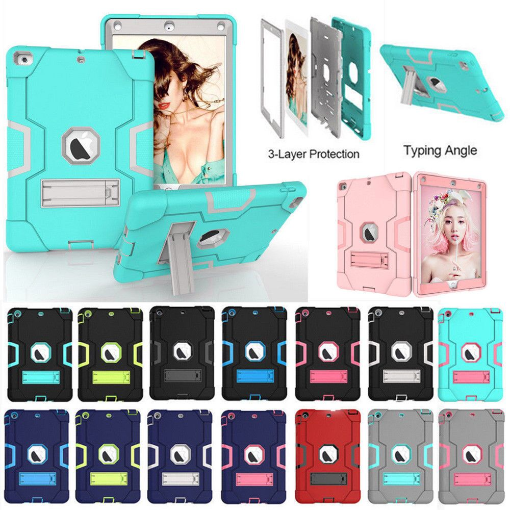 Case For Apple iPad2 iPad3 iPad4 Kids Safe Armor Shockproof Heavy Duty Silicon+PC Stand Back Case Cover For ipad 2 3 4