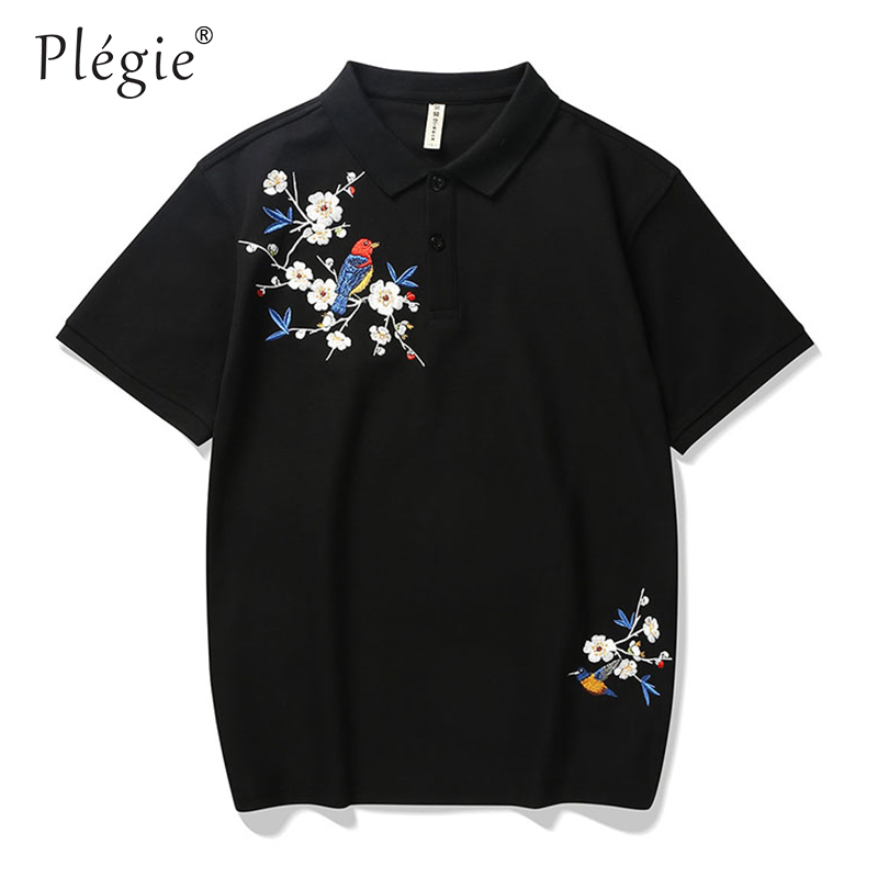 Plegie Mens   Polo   Shirt Hip Hop Streetwear Floral Embroidery PoloShirt Summer 2019 Black Poloshirt Cotton Shirt Short Sleeve