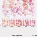 1 Caja de 10 ml Hojas de Uñas Glitter Powder Consejos Rosa Rojo 1mm y 2mm y 3mm Mezclado Polvo de uñas Decoración de Uñas 5 Colores