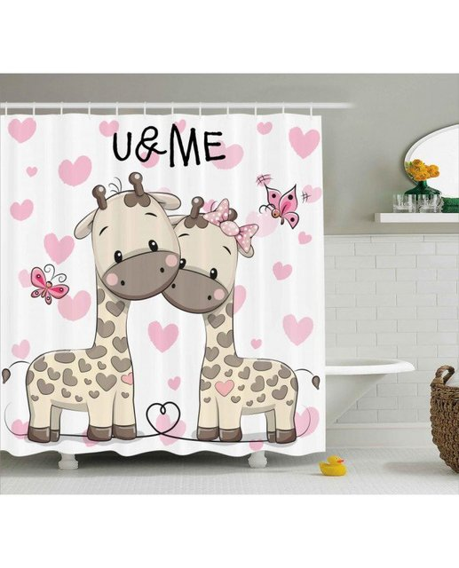 Kids Shower Curtain Baby Giraffes And Hearts Print For Bathroom Waterproof Fabric Romantic