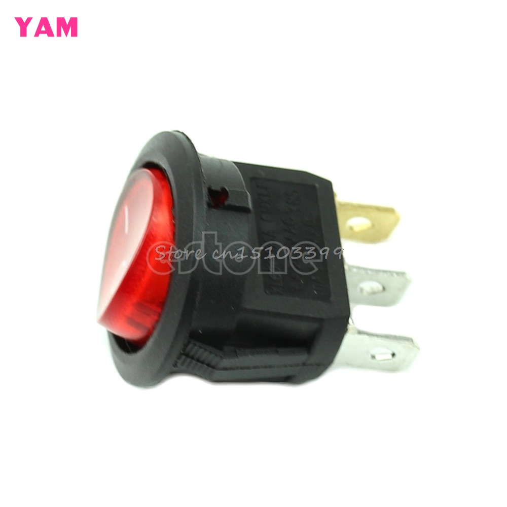 5Pcs Light ON-OFF SPST Round Button Dot Boat Car Auto Rocker Switch AC 6A/250V R #G205M# Best Quality 10pcs ac 250v 3a 2 pin on off i o spst snap in mini boat rocker switch 10 15mm