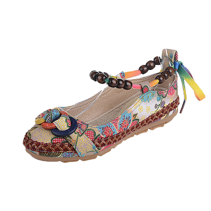 Femme Chaussure Punta Colorido Étnicas Bordado Rebordear Mujeres Zapatos Casual Multiple Algodón Scarpe Donna Redonda Mujer Talon xvqwEI