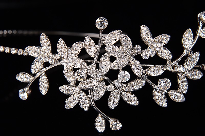 925 sterling silver luxury leaves design bridal tiara for women Austrian crystal wedding hair accessories 585 gold plated crown hair jewelry HF002 (2)