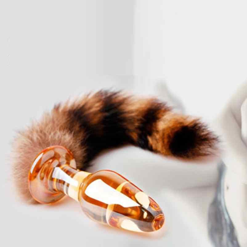 זכוכית שועל זנב אנאלי צעצוע G-spot הדגדגן לעיסוי אנאלי תקע התחת חם ארוטית מין לאישה זוג dropshopper