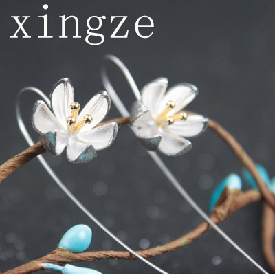 New style 925 sterling silver handmade earrings wire drawing lotus long earrings for women fine jewelry