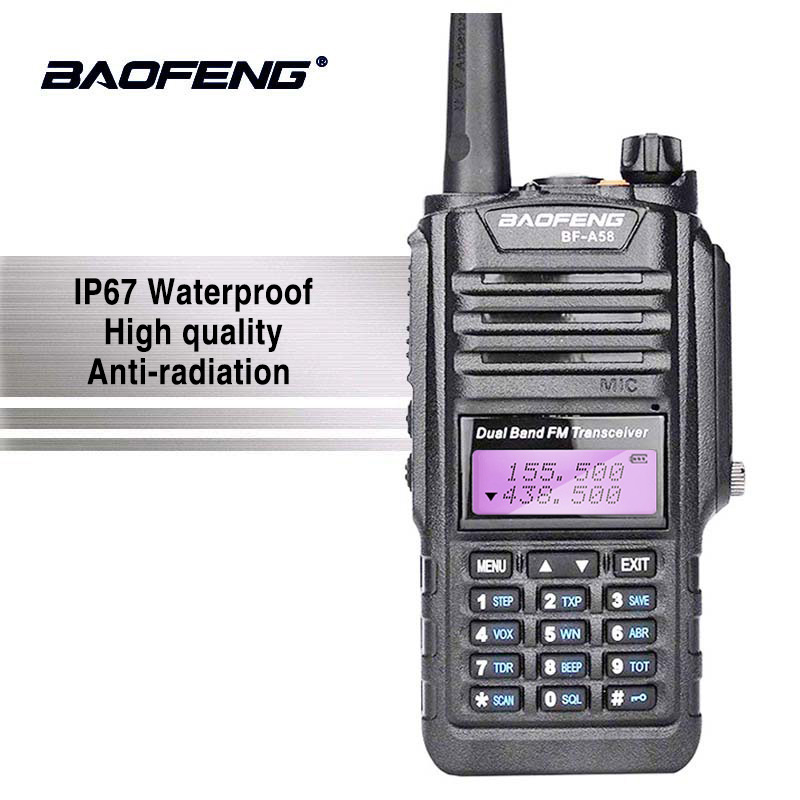 Baofeng BF-A58 Talkie Walkie Étanche UHF/VHF Double Bande Radio avec Écran et Clavier A58 Baofeng UV-9R Deux Façon radio UV9R Plus