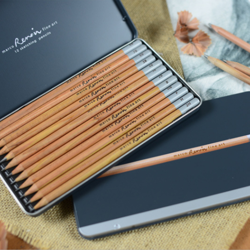 Marco Renoir Fine Art 12 Pieces Sketching Pencil Writing Non-toxic Pastel Drawing Pencils Iron Box Student School Art Supplies