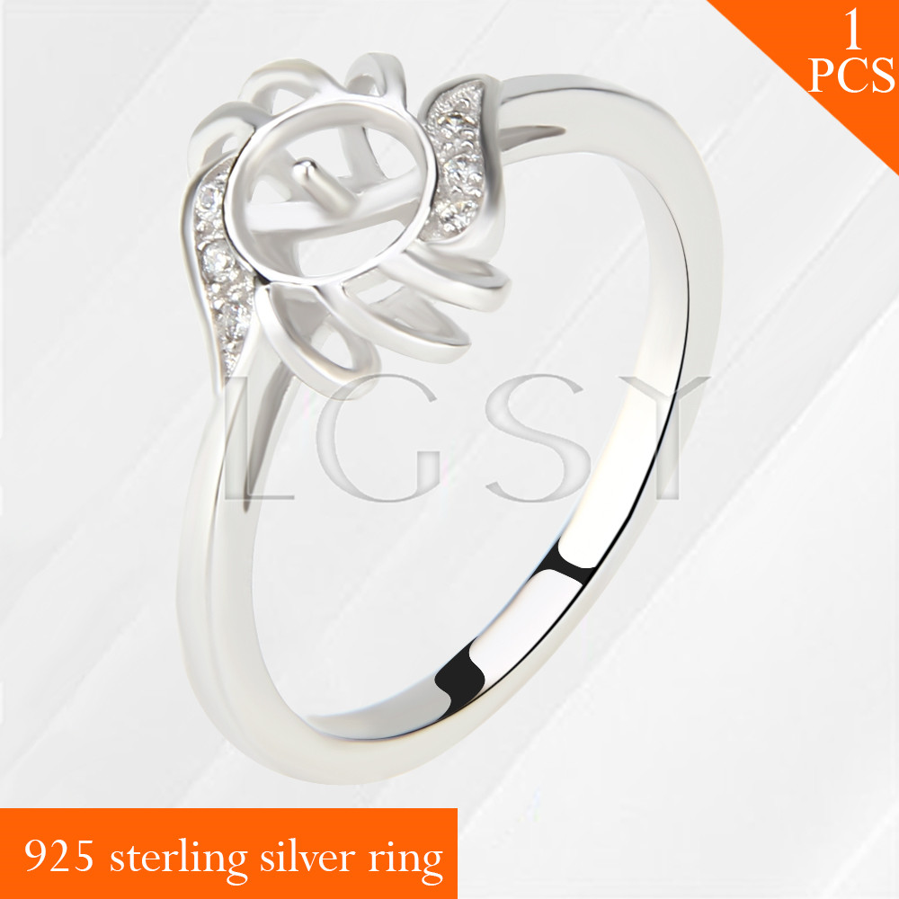 Free shipping 925 sterling silver rings mounting with Wheel shape pearls bar size 6 7 8