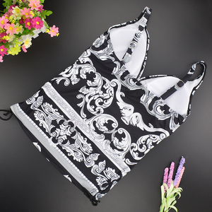 Image 5 - 2020 Two Piece Swimwear Women Plus Size Tankini Swimsuits with Shorts V neck Tankinis Set Swim Wear Black Print Bathing Suit 2XL